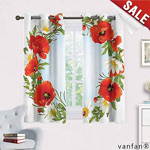 (Ladybugs Decorations Collection Curtain Mount,Camomile and Poppy Frame in The Shape of Circle Love Celebration Event Daisy Image Curtains to Keep Out Heat,Red Green W72 x L45)