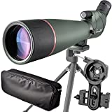 20-60X 80 Prism Spotting Scope- Waterproof Scope for Birdwatching Target Shooting Archery Outdoor Activities -with Tripod & Digiscoping Adapter-Get The Beauty into Screen