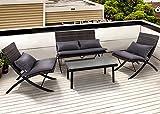 PHI VILLA Patio 4-Piece Padded Wicker Lounge Set Folding Rattan Chairs Outdoor Furniture, Grey