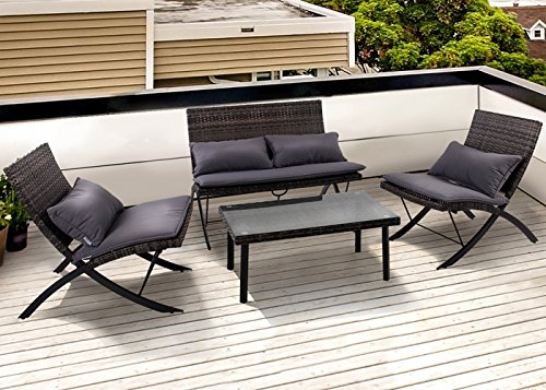 PHI VILLA Patio 4-Piece Padded Wicker Lounge Set Folding Rattan Chairs Outdoor Furniture, Grey by PHI VILLA