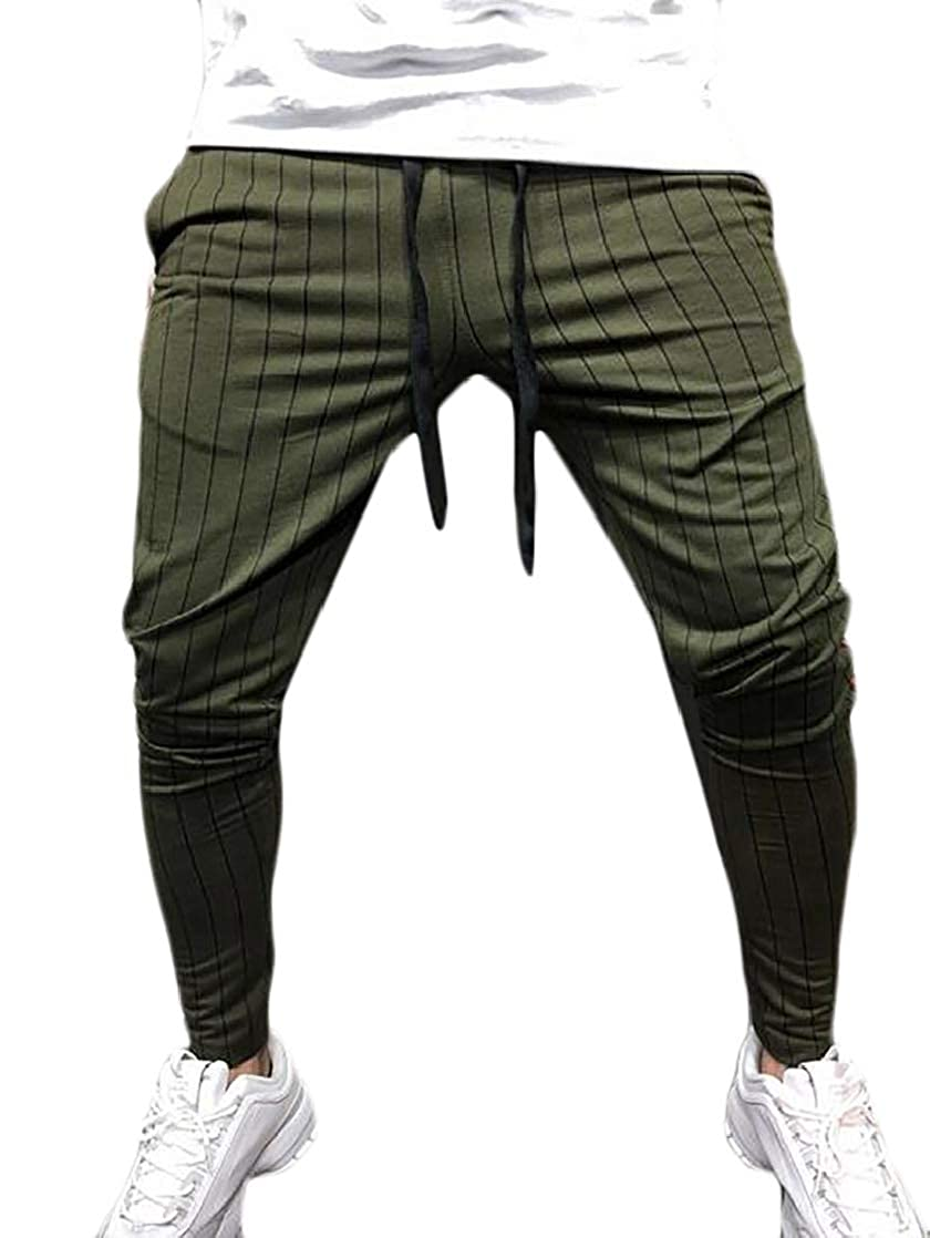 BU2H Men Elastic Waist Athletic Drawstring Striped CasualGym Long Pants