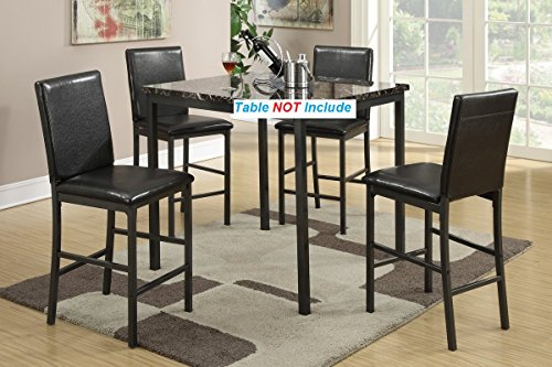 Set of 4 Counter Height Dining Chairs with Metal Frame and Faux Leather Cushion by Advanced Furniture