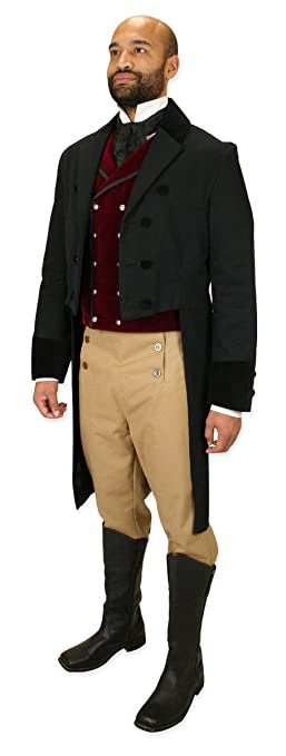 Men's Steampunk Jackets, Coats & Suits Historical Emporium Mens High Waist Cotton Regency Fall Front Trousers $69.95 AT vintagedancer.com