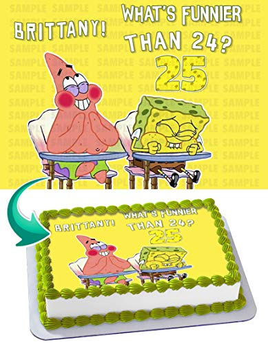 SPONGE BOB Quarter Sheet Edible Photo Birthday Cake Topper~ Personalized! 1/4 -