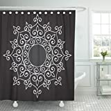 Emvency 66''x72'' Shower Curtain Waterproof Moroccan Abstract Circle Floral Ornamental Mandala Indian Arabesque Arabian Arabic Home Decor Polyester Fabric Adjustable Hook