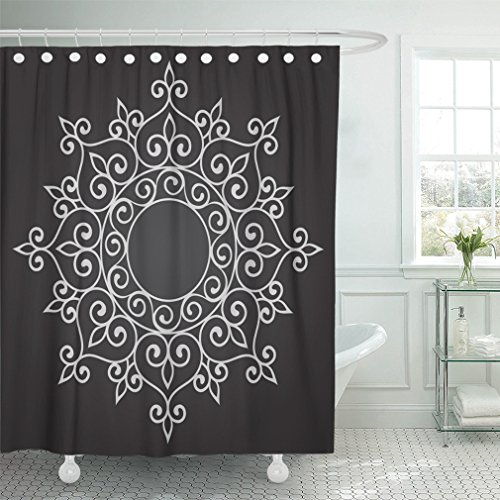 Emvency 66''x72'' Shower Curtain Waterproof Moroccan Abstract Circle Floral Ornamental Mandala Indian Arabesque Arabian Arabic Home Decor Polyester Fabric Adjustable Hook by Emvency