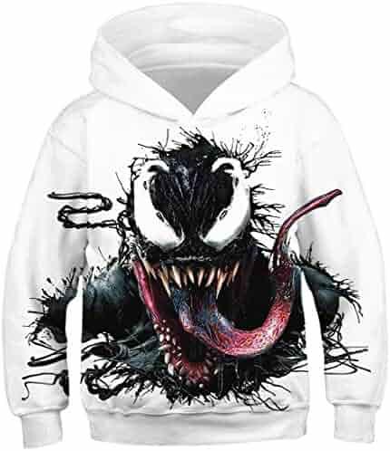 Kjiurhfyheuij Teens Pullover Hoodies with Pocket Music Notes Microphone Fleece Hooded Sweatshirt for Youth Kids Boys Girls