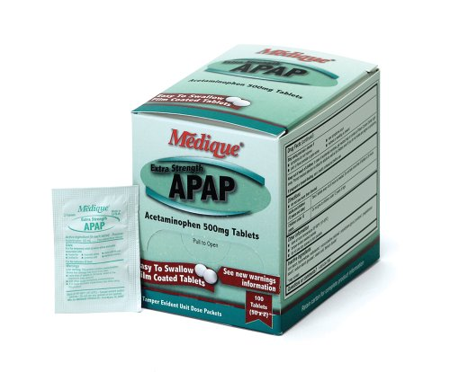 Strength 50 Tabs (Medique Products 17533 Extra Strength APAP Tablets, 100 Tablets, 50 X 2)