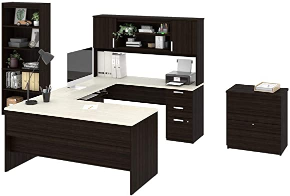 Bestar, Ridgeley Collection, 3-Piece Set Including a U or L-Shaped Desk with Hutch, a Lateral File Cabinet, and a Bookcase