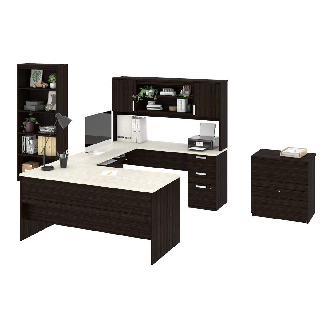 Bestar 3-Piece Set Including a U-Shaped Desk with Hutch, a lateral File Cabinet, and a Bookcase - Ridgeley