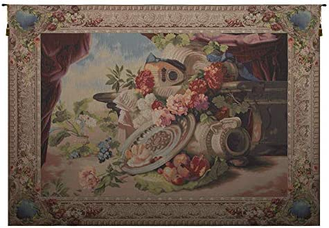 Charlotte Home Furnishings Inc. Mandolin French Medium Tapestry Wall Hanging Wool, Cotton and Other Blend Wall Art 78 in. x 58 in. Home Decor Accents