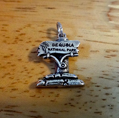 Fine Charms Sterling Silver 18x14mm Sign says Sequoia National Park Indian Face