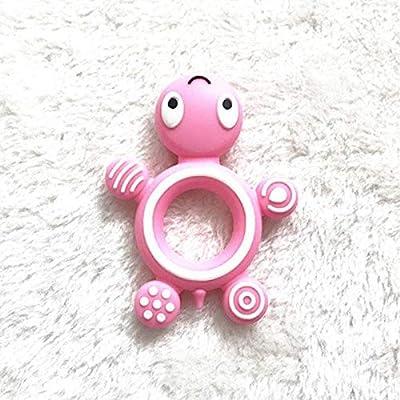 YAKU-Baby Teether, Food-Grade Baby Silicone Turtle Animals (Pink) : Baby