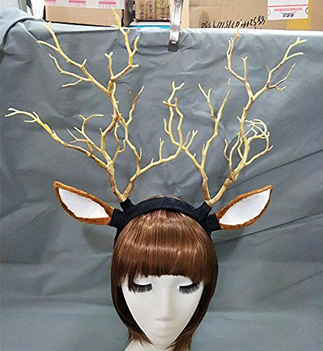 Qhome Branch Horn Hoop Headband Forest Animal Photography Original Manual Exhibition Cosplay Photo Props Dark Forest Witches Deluxe Costume Horns (Yellow(Deer -