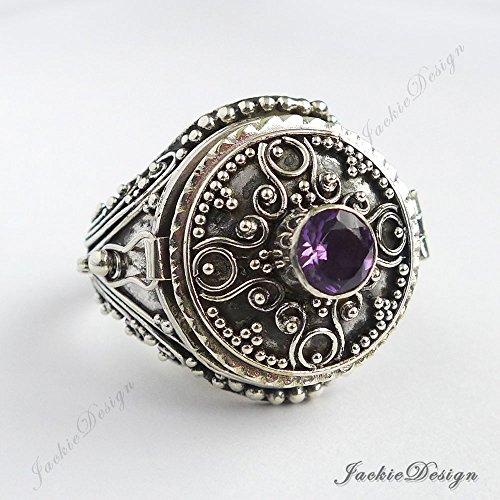 (Purple Amethyst Size 8 Poison Ring Locket Bali 925 Sterling Silver JD139)