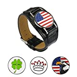 Strong Magnetic Bracelet with 4 Different Attractive Golf Ball Markers (Black, Circular)