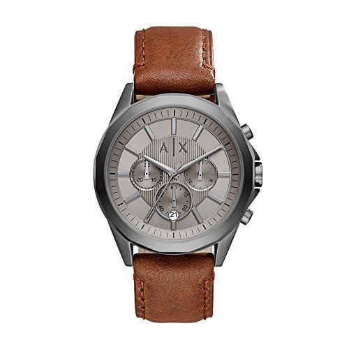 Armani Exchange Men's AX2605 Gunmetal IP Brown Leather Watch