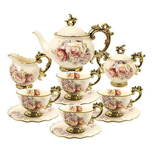 fanquare 15 Piezas Juegos de Te de Porcelana Inglesa, Vintage Juego de Cafe de Flores Rosas, Servicio de Te de Boda