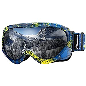 OutdoorMaster Kids Ski Goggles - Helmet Compatible Snow Goggles for Boys & Girls with 100% UV Protection (Yellow Pattern Frame + VLT 10% Grey Lens)