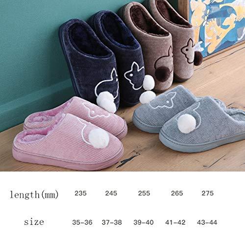 Blau AMINSHAP Brown 41 Unterseite 42EU größe Rutschfeste Karikatur Weiche Innenhaus Baumwollpantoffel Männliche Nette Pantoffel Paar Farbe Plüsch 7qUr7