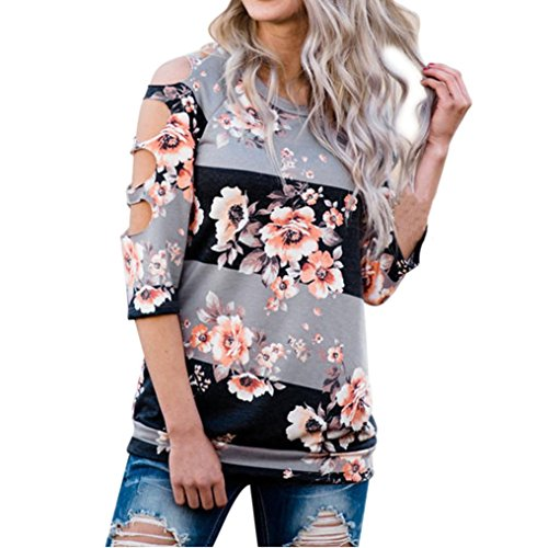 Pattern Shoulder Cut Out - KESEE Loose Casual Print T Shirts Cut Out Shoulder Tops and Blouses (L)