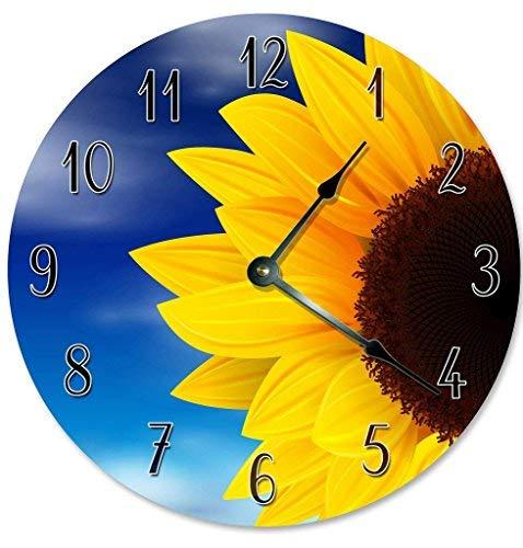 OSWALDO Vintage Sunflower Blue Sky Clock Decorative Round Wooden Wall Clock - 12 inch
