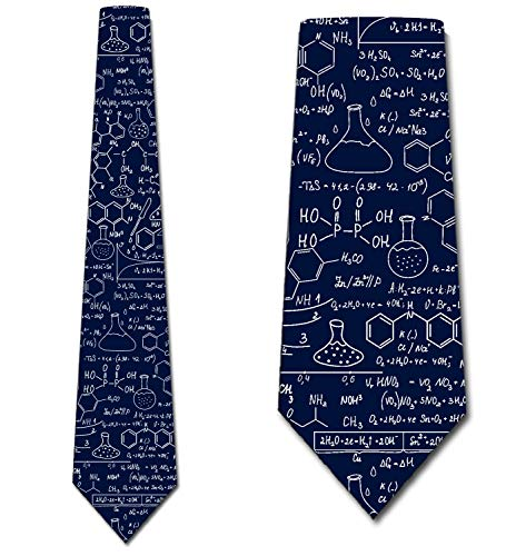 Science Ties Mens Chemistry Equations Navy Necktie by Three Rooker