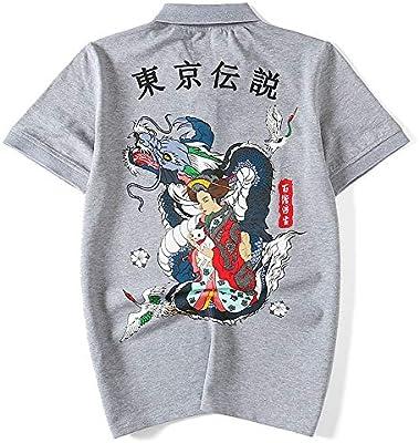 QYS Camisetas japonesas con Estampado de Dragones de Ukiyo-E ...