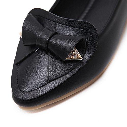 AdeeSu Womens Bows Low-Cut Uppers Rhinestones Urethane Flats Shoes Black Ao4ErObcR