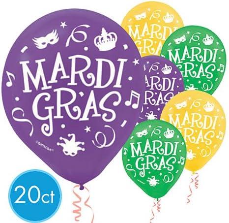 Mardi Gras 12in Latex Balloons 20ct