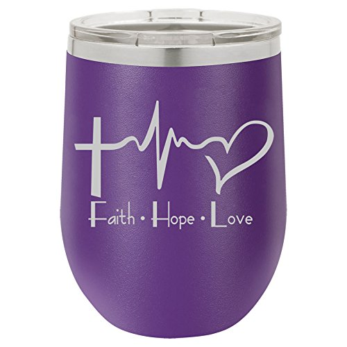 12 oz Double Wall Vacuum Insulated Stainless Steel Stemless Wine Tumbler Glass Coffee Travel Mug With Lid Faith Hope Love EKG Christian (Purple) by MIP