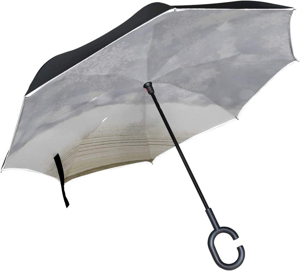 Double Layer Inverted Inverted Umbrella Is Light And Sturdy Snow Snowflake Fall On Wooden Table Reverse Umbrella And Windproof Umbrella Edge Night Re