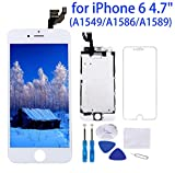 "Screen Replacement for iPhone 6 White 4.7"" LCD Display Touch Digitizer Frame Full Assembly Repair Kit, with Proximity Sensor, Ear Speaker, Front Camera, Screen Protector, Repair Tools"