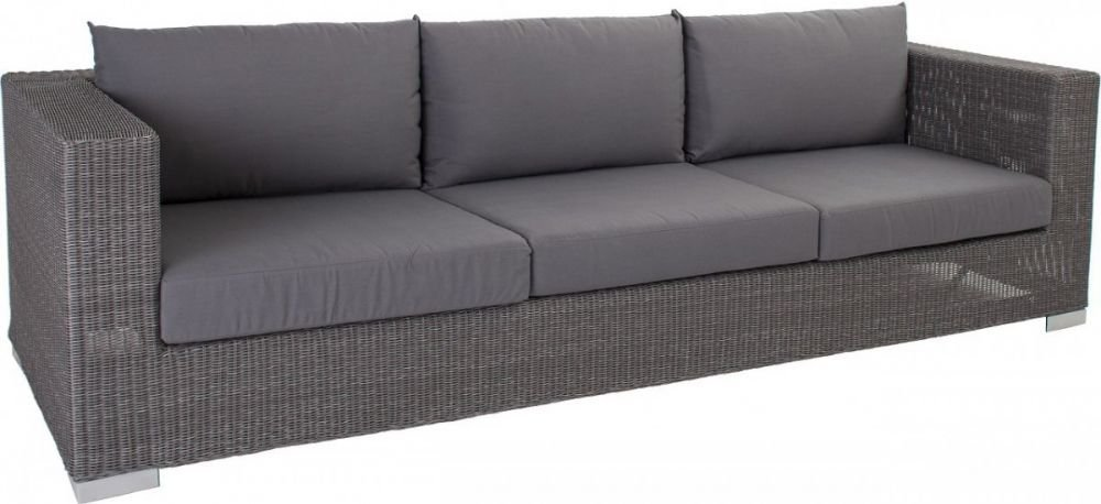 3er loungesofa maryland aluminiumgestell rattan grau 246cm. Black Bedroom Furniture Sets. Home Design Ideas