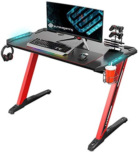 EUREKA ERGONOMIC Z1-S Gaming Desk Z Shaped Computer Gaming Desk