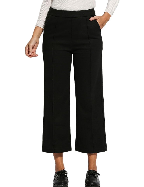 Naggoo Women High Waist Solid Ankle Length Culottes Wide Leg Pants
