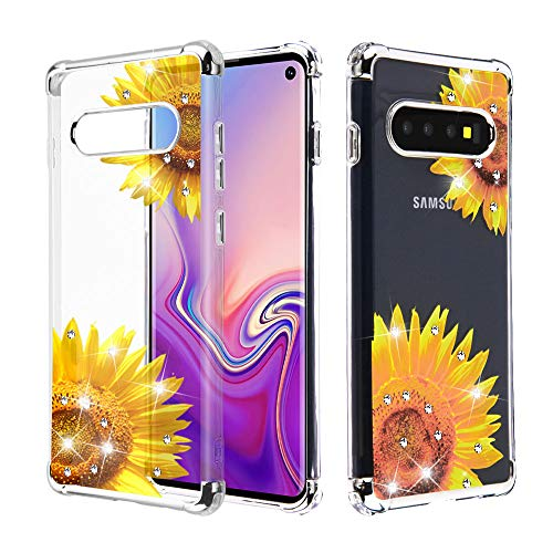 Faceplate Cover Candy - Case+Stand+Stylus, TPU Candy Skin Protector Cover Fits Samsung Galaxy S10 Electroplating Clear/Sunflower Golden Yellow Stuffed Diamante/Artificial Diamond