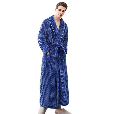Yra Camisón Batas De Baño para Hombre Abrigo Grueso Albornoces Gimnasio Ducha SPA Hotel Kimonos Pijamas
