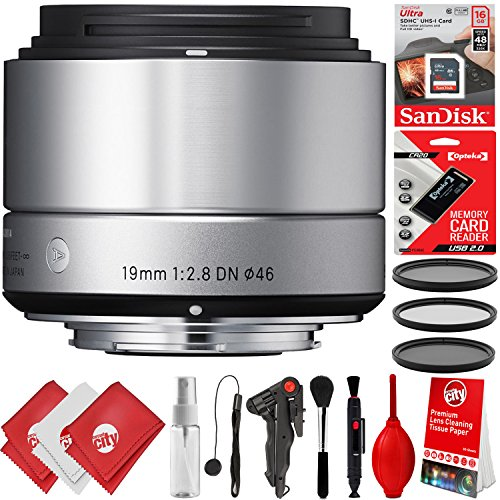 Sigma 19mm F2.8 EX DN Art Lens + 16GB 17PC Bundle for Sony E