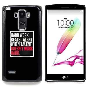 """Trabajo duro Talento Inspiring Negro Rosa"""" - Metal de aluminio y de plástico duro Caja del teléfono - Negro - LG G4 Stylus / G Stylo / LS770 H635 H630D H631 MS631 H635 H540 H630D H542"""