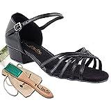 Women's Ballroom Dance Shoes Salsa Latin Practice Dance Shoes Black PU 802FTEB Comfortable - Very Fine 1'' Heel 6.5 M US [Bundle of 5]