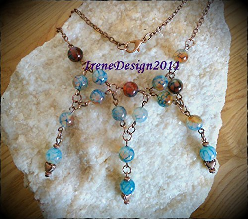 Copper Necklace with Blue Vein Agate & Hearts