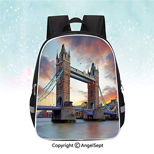 Casual Backpack,Historic Old Tower Bridge London British Kingdom Skyline Ancient Cultural Monuments Decorative,13