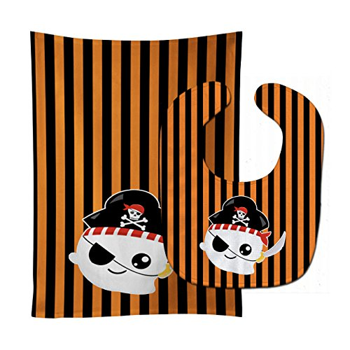 (Caroline's Treasures Halloween Ghost Baby Bib & Burp Cloth, Pirate, Large)