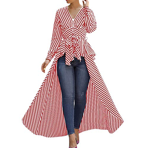Willow S Women 2019 Sexy Fashion Irregular Hem Stripe Bow Tie V-Neck Long Sleeve Loose T-Shirts Tops Blouse Red