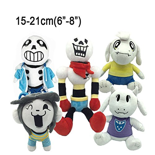 Choun Shiryu Costume (Shalleen Set of 5Pcs Undertale Plush Toy Stuffed Doll Sans Papyrus Temmie Toriel Asriel)