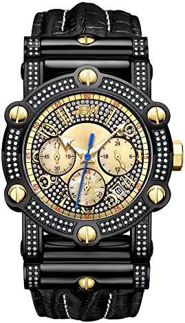 JBW Men's 10th Anniversary Phantom 1.96 ctw diamond wrist watch with leather bracelet