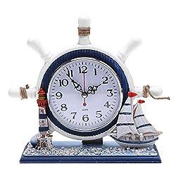 LIBINA - clock Nautical Wooden Mantel Wall Clocks, Cute Silent Non Ticking Bedroom Nursery Living Room Movement Swinging Wall Art Decoration