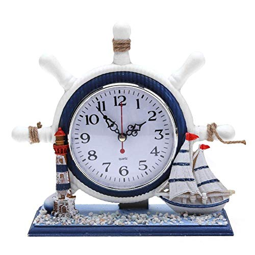 LIBINA - clock Nautical Wooden Mantel Wall Clocks, Cute Silent Non Ticking Bedroom Nursery Living Room Movement Swinging Wall Art Decoration