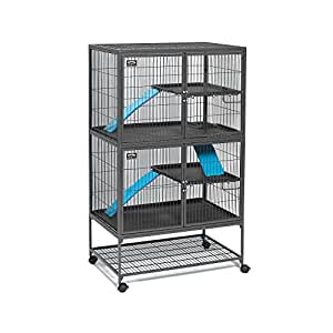 """MidWest Deluxe Ferret Nation Double Unit Ferret Cage (Model 182) Includes 2 leak-Proof Pans, 2 Shelves, 3 Ramps w/ Ramp Covers & 4 locking Wheel Casters, Measures 36""""L x 25""""W x 62.5""""H Inches"""